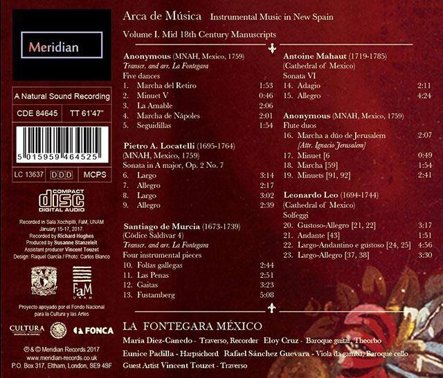 Contraportada Arca de Música Vol. I